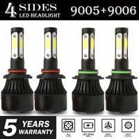 Combo 9005 9006 4-Side LED Headlight Kit 1500W 280000LM High Low Beam Bulb 6000K