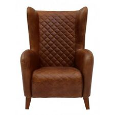 """30"""" Aviator Back Leather Chair Stitched Distressed Leather Brown"""