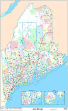Maine State Zipcode Laminated Wall Map