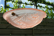 French Art Deco Chandelier DEGUE signed frosted glass pink soft  1930