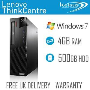 Desktop Tower PC ThinkCentre Dual Core 4GB RAM 500GB HDD Computer Windows 7