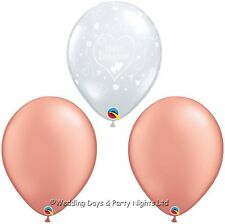"15 Clear Happy Engagement + Rose Gold Helium/Air 11"" Balloons Party Decorations"