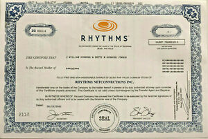 Rhythms NetConnections > early internet ISP dot com bubble stock certificate