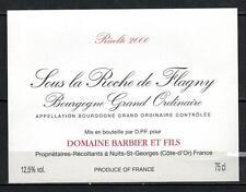 Etiquette de Vin - Sous la Roche de Flagny - Domaine Barbier - Réf.n°6