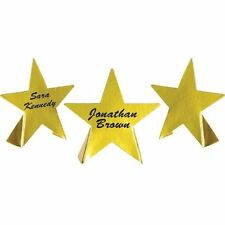 8 Foil Star Place Cards - Hollywood Dinner Party - Gold Movie Star Decoration