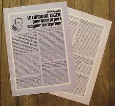 Article Cardinal Leger, soin aux lepreux  , 1968 , clipping