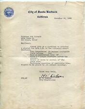 [Radio Re] 1933 Vintage CITY OF SANTA BARBARA [Calif] Letterhead