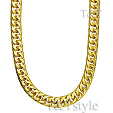 T&T 10mm 18k Gold GP Stainless Steel Curb Chain Necklace (C92)