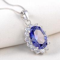 6.4Ct Oval Blue Tanzanite White Topaz 925 Sterling Silver Pendant Chain Necklace