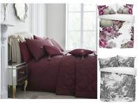 Modern Laurence Llewelyn Bowen Floral Print Jacquard Duvet Cover Pillowcase Set