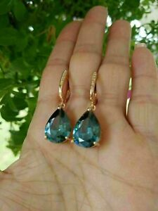5Ct Pear Cut London Blue Topaz Women's Drop Dangle Earrings 14K Yellow Gold Over