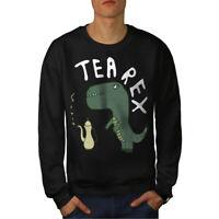 Wellcoda Dinosaur Tea Rex Mens Sweatshirt, Funny Casual Pullover Jumper