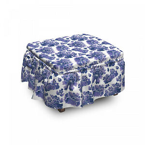 Ambesonne Romance Floral Ottoman Cover 2 Piece Slipcover Set and Ruffle Skirt