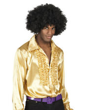 Mens Gold Shirt 70s 80s Disco Costume Fancy Dress 1970s 1980s Party Outfit NEW