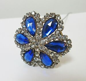 Antique Hatpin Large Faceted Blue Glass Rhinestones Flower