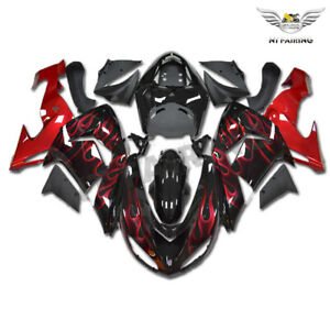 UK Fit for Kawasaki Ninja 2006-2007 ZX10R Red Flame Injection Fairing ABS n008
