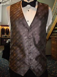 Silver Claiborne Formal Tuxedo Vest & Black Satin Bow Fullback - Mens M