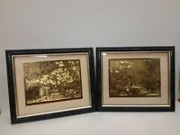 "Set of 2 Lionel Barrymore Foil Etching Prints ""The Old Farm"" & ""Old Nantucket"""