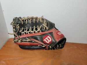 """Wilson A2000 Pro Stock 12.5"""" Trapeze Web Baseball Glove Outfield Black Red LHT"""