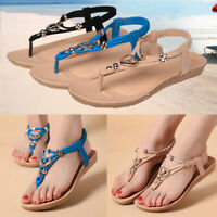 AU Women Summer Casual Beach Sandals Shoes Ankle Strap Flip Flops Thong Slippers