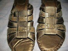 White Mountain Adriana 10 M Bronze Faux Snakeskin & Leather Strap WedgeSlides