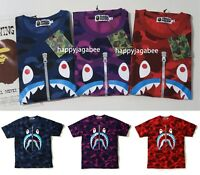 [S-3XL] A BATHING APE Men's COLOR CAMO SHARK TEE 3colors From Japan New