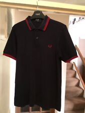 Fred Perry Twin Tipped T Shirt Small Black with Red Trim