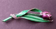 Vintage 50s Stamped 835 Sterling Enamel Marcasite PURPLE TULIP Pin Brooch 48.4g