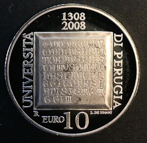 Italy - Silver 10 Euro Coin - 'University of Perugia' - 2008 - Proof