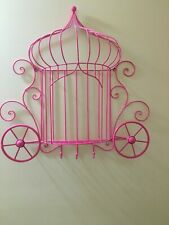 Home decor pink Princess Cinderella's carriage wire wall hanging shelf
