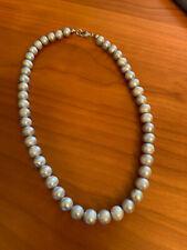 Tahiti silbergraues Perlen Collier, 8 mm - 9 mm, Silberschließe 925