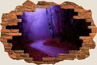 3D Hole in Wall Purple Misty Morning View Wall Sticker Art Decal Wallpaper S62