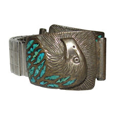 Sterling Turquoise Eagle Watch Stretch Band