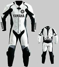 YAMAHA White and Black Motorcycle Leather Suit Racing Cowhide Armored Suit