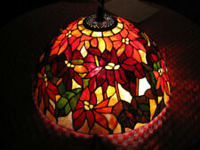 "Antique Art Glass Lamp - 24"" Poinsetta Tiffany Design"