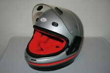 Vtg POLARIS by Bell Snowmobile Racing Helmet Size Small S Silver Red Made in USA