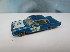Matchbox/ Lesney 55b Ford Fairlane Police Car Met. Blue - SILVER Plastic Wheels