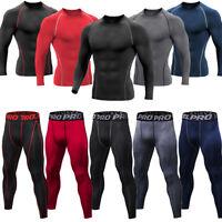 Men Compression Thermal Base Layer Long John Pants Shirt Top Gym Run Underwear
