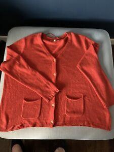 Seasalt Size 24 Dark Orange Cardigan Wool Mix