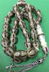 Super polished Hand Made White Boon Silver In Lay and  Islamic Beads 46 grams