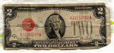 Series 1928 G US $2 Red Seal Two Dollar Bill United States Note -Damaged