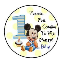 BABY MICKEY BIRTHDAY THANK YOU (THANKS) FOR COMING TO MY PARTY STICKERS FAVORS
