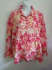 White Stag Womens 100% Cotton Floral Button Shirt Size XL 16-18 Roll Tab Sleeve