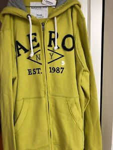 Aeropostale Mens 1987 NYC Spellout Pullover Hoodie Lime | Tag XXL