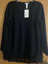 Lightweight Maternity Sweater Black With Lace Detail Size Large Ma Cherie NWT
