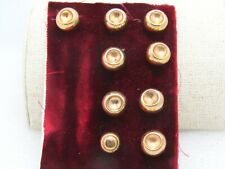 """Vintage 9 Gold Tone Dimpled Buttons, .55"""" and .46"""", Brass Possibly, Shank Back"""