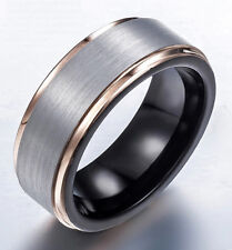 Tungsten Carbide Men Gold Plated Edge Brush Wedding Band Ring Size 12 SR142