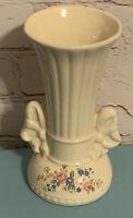 Vintage Ceramic Two-Handled 6 Inch Vase Urn Ivory Color with Floral Design