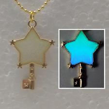 Magic STAR Key Wand Glitter GLOW IN THE DARK Gold Kawaii Charm Pendant Necklace