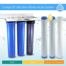 "3 Stage 20"" Whole House Water Filter Softening Softener System With Ball Valve"